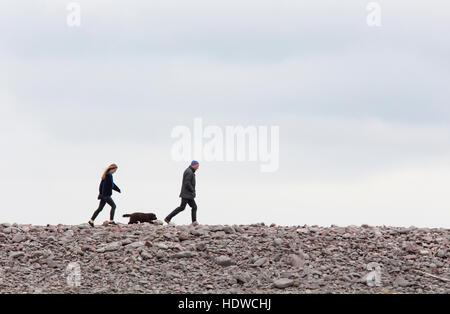 Un couple en train de marcher leur chien sur une plage de galets, l'Angleterre, Royaume-Uni Banque D'Images