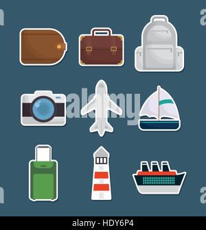 Assurance bateau caméra aiplane les icônes de voyage vecteur d'image illustration design Banque D'Images