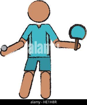 Caractère de dessin joueur de ping-pong avec raquettes Banque D'Images