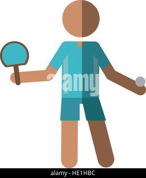 Personnage joueur de ping-pong avec raquettes Banque D'Images