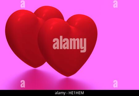 Deux coeurs rouges sur fond rose, 3D render Banque D'Images