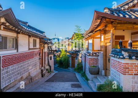 Le village de Bukchon Hanok à Séoul, Corée du Sud. Banque D'Images