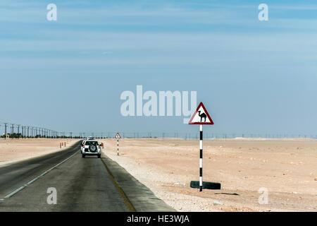 Panneau d'avertissement de chameau dans l'autoroute du désert Oman Salalah dhofar au Moyen-Orient Banque D'Images