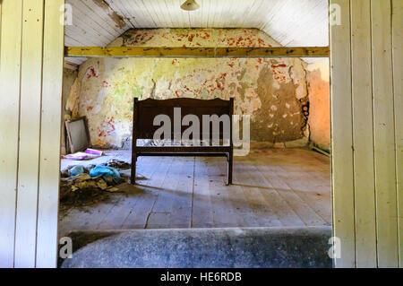 Chambres laissées dans un cottage irlandais. Banque D'Images