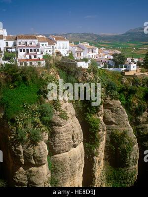 La Gorge El Tajo, Ronda, Andalousie, Espagne Banque D'Images