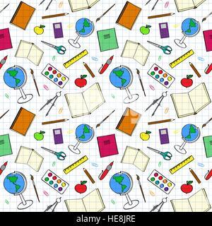 Modèle transparent avec des éléments relatifs à l'école. Sketch-comme l'illustration de livres, stylos et autres Banque D'Images