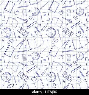 Modèle transparent avec des éléments associés. Sketch-comme l'illustration de livres, stylos et autres objets d'études. Banque D'Images