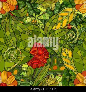 Hand drawn vector seamless floral pattern avec feuilles et fleurs Banque D'Images