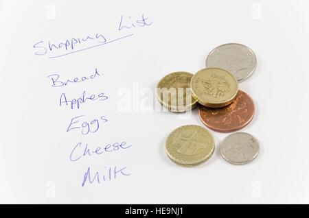 Une liste d'épicerie et une poignée de pièces de monnaie pour payer les éléments de la liste.