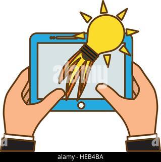 Mains tenant une tablette avec l'icône de lancement de la lumière de l'ampoule sur fond blanc. start-up concept. Banque D'Images