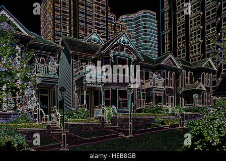 Maisons patrimoniales et les tours d'habitation - image manipulée numériquement avec bords rougeoyants, Abstract Banque D'Images