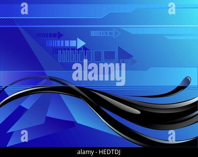 Art dessiné par le flux d'huile sur un fond bleu foncé, décoré avec des flèches et des lignes droites. Banque D'Images