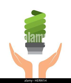 Les mains à la lumière de l'ampoule verte icône sur fond blanc. design coloré. vector illustration Banque D'Images