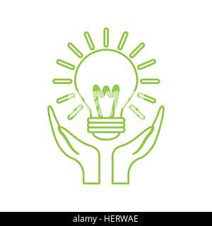 Les mains à l'icône représentant une ampoule sur fond blanc. design coloré. vector illustration Banque D'Images