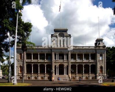 ʻIolani Palace, dans le quartier de capitol centre-ville d'Honolulu dans l'état américain de Hawaiʻi, est le seul Banque D'Images