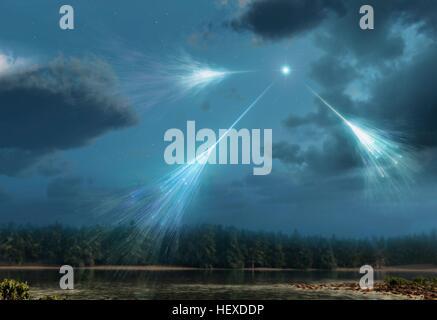 Les rayons cosmiques.Artwork de particules à haute énergie de rayonnement star dans l'espace profond (rayons cosmiques) Banque D'Images