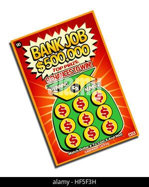 Grattez et Gagnez des billets de loterie isolé sur fond blanc.