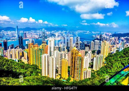 Hong Kong Island Peak Lookout au centre-ville de Kowloon Victoria Harbour Apartments sky scrapers vista afficher Banque D'Images