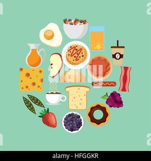 Le petit déjeuner sur la forme du cercle sur fond bleu. design coloré. vector illustration Banque D'Images