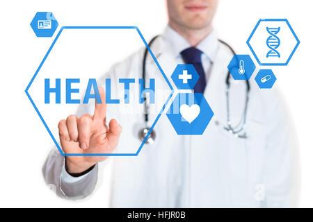Concept de soins d'un médecin de toucher un bouton avec texte de la santé et des icônes sur l'interface virtuelle, isolé sur fond blanc
