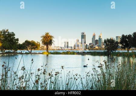 Vue sur St James Mitchell Park et le fleuve Swan à l'horizon de la ville à l'aube, Perth, Western Australia, Australia Banque D'Images