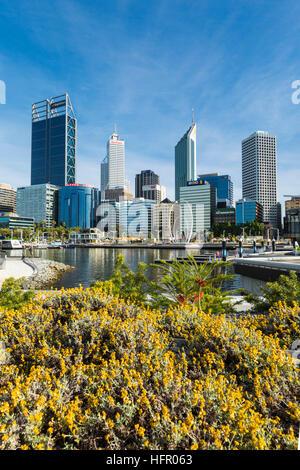 Vue sur Elizabeth Quay to the city skyline, Perth, Western Australia, Australia Banque D'Images