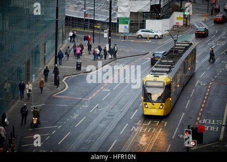 Manchester Metrolink Tram tramway Metrolink street light rail transport en commun rapide de transports modernes Banque D'Images