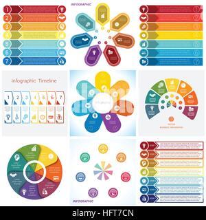 Les éléments graphiques des collections. Modèle pour 7 fonctions. Banque D'Images