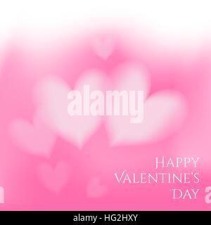 Carte de Saint Valentin avec des coeurs sur fond rose. Banque D'Images