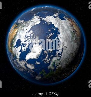 Terre vue de l'espace montrant l'Arctique. Illustration numérique réaliste y compris carte relief hill d'une ombre Banque D'Images