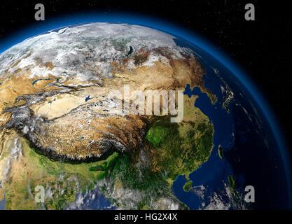 Terre vue de l'espace montrant la Chine. Illustration numérique réaliste y compris carte relief hill d'une ombre Banque D'Images