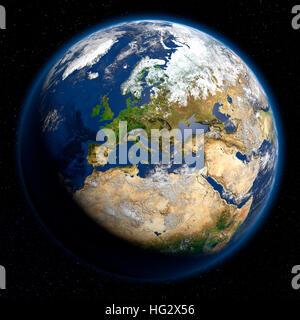 Terre vue de l'espace montrant l'Europe. Illustration numérique réaliste y compris carte relief hill d'une ombre Banque D'Images