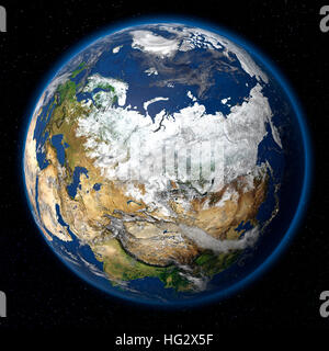 Terre vue de l'espace montrant la Russie. Illustration numérique réaliste y compris carte relief hill d'une ombre Banque D'Images