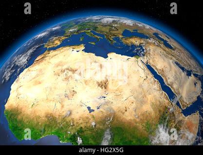 Terre vue de l'espace montrant le désert du Sahara et l'Afrique du Nord. Illustration numérique réaliste y compris Banque D'Images