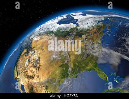 Terre vue de l'espace montrant les États-Unis. Illustration numérique réaliste y compris carte relief hill d'une Banque D'Images
