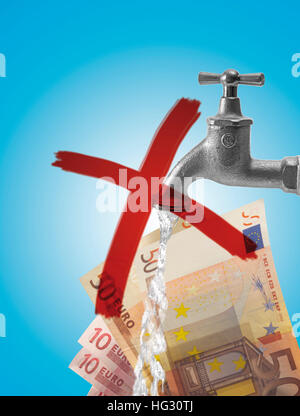 Barrée d'un robinet d'eau (robinet) et l'introduction des billets (composer): symbole de la hausse des prix de Banque D'Images