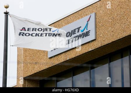 Un logo affiche à l'extérieur d'un établissement occupé par Aerojet Rocketdyne de Gainesville, Virginie le 31 décembre Banque D'Images