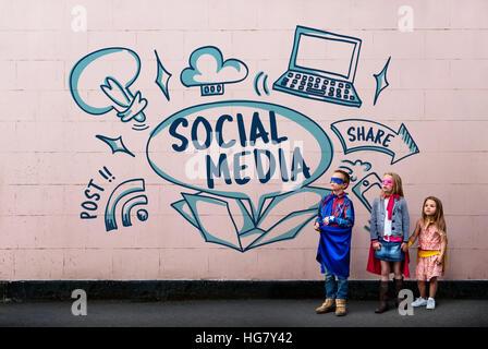 Internet Médias sociaux Technologie Concept Banque D'Images