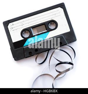 Bande audio étiquette vierge mis en œuvre lecture blanc isolé Banque D'Images