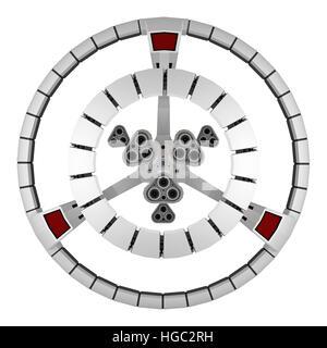 Vue arrière du vaisseau isolé sur blanc. Le rendu 3D