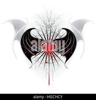 Artistiquement peintes, cœur rouge d'un vampire avec des ailes noir, décoré avec un motif de crampons. Banque D'Images