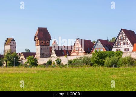 Allemagne, Bavière, Route Romantique, Dinkelsbuhl, toits de la ville Banque D'Images