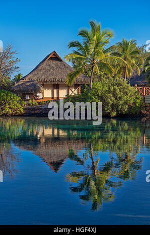 Bungalow avec palmiers près de l'eau, réflexion, Mo'orea, Polynésie Française
