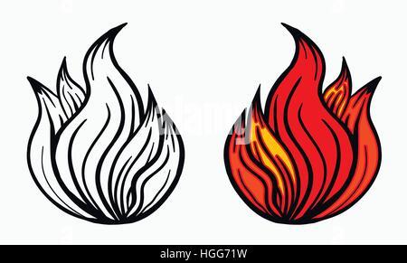 Flammes Feu De Camp Les Poussées De Chaleur Brûler Vector