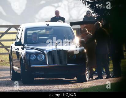 Sandringham, Norfolk, Royaume-Uni. 22 janvier, 2017. Sa Majesté la Reine Elizabeth II à l'Église à Sandringham . Banque D'Images