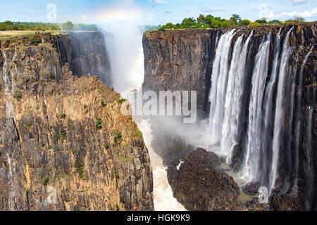 Chutes Victoria, Zambie et Zimbabwe border Banque D'Images