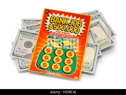 Ticket de loto gagnant Gratter avec de l'argent isolé sur fond blanc.