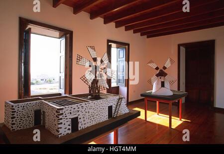 À l'intérieur du musée Centro de Interpretacion de los Molinos, Tiscamanita, Fuerteventura, Îles Canaries, Espagne Banque D'Images