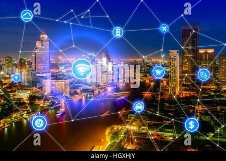 Des ville et réseau de communication sans fil, du quartier des affaires avec office building, résumé visuel de l'image, Banque D'Images