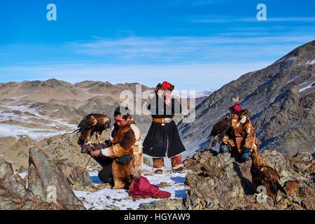 La Mongolie, Bayan Olgii, kazakh, Eagle eagle hunter chasse, golden eagle Banque D'Images